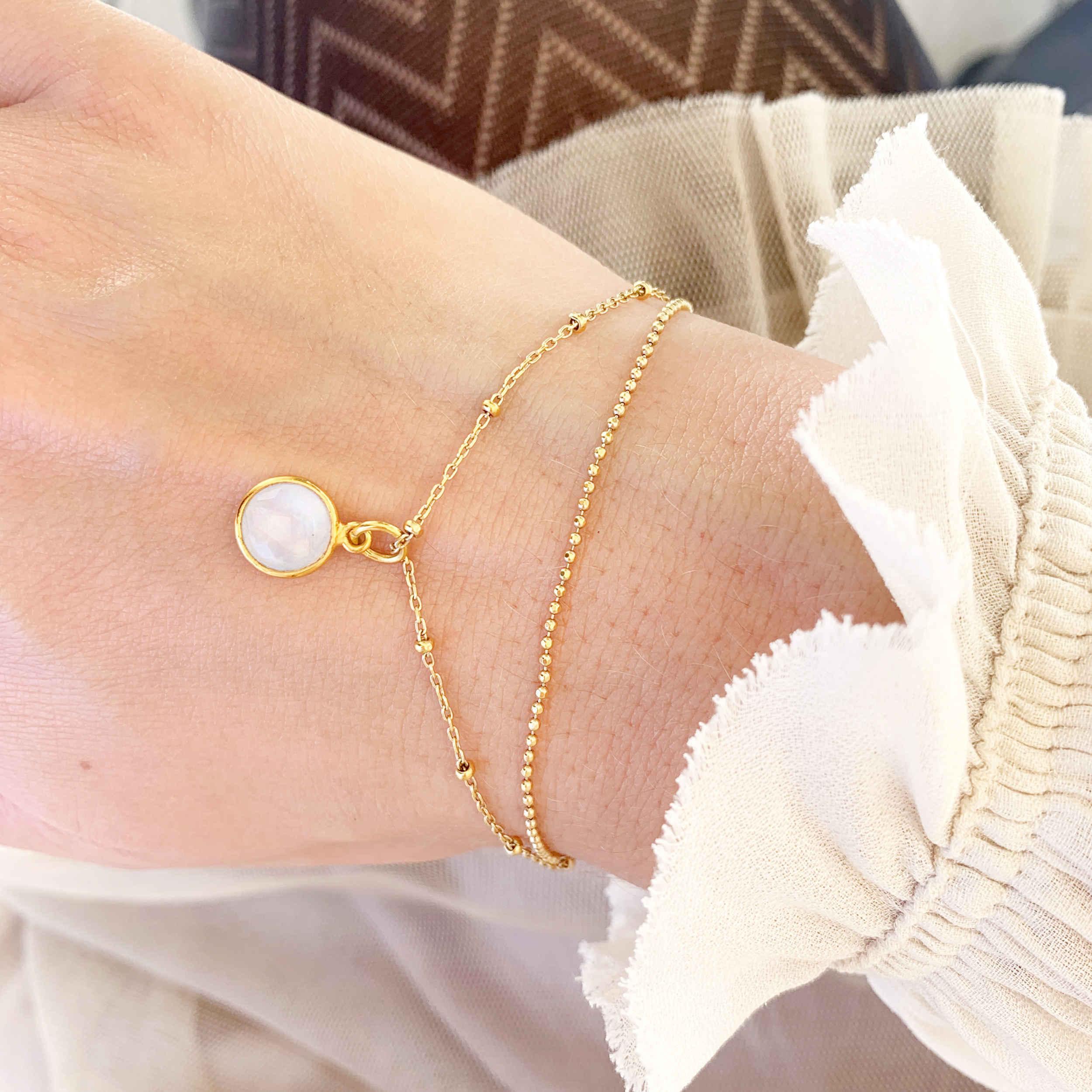 Armkette mit Mondstein gold monchic