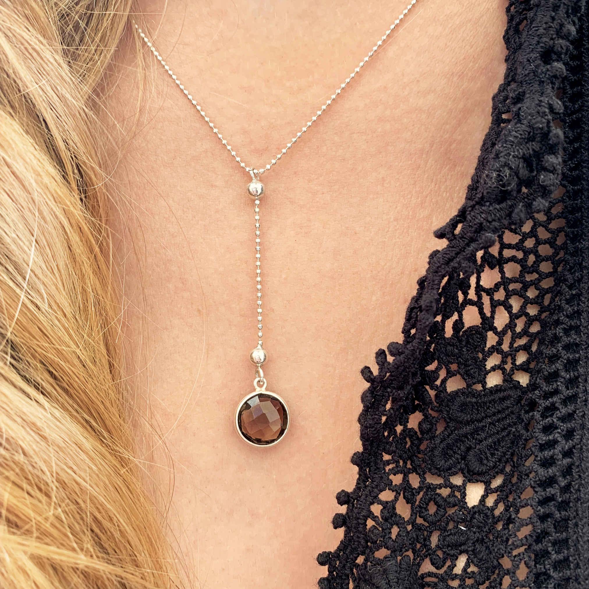 Halskette Rauchquarz Silber monchic