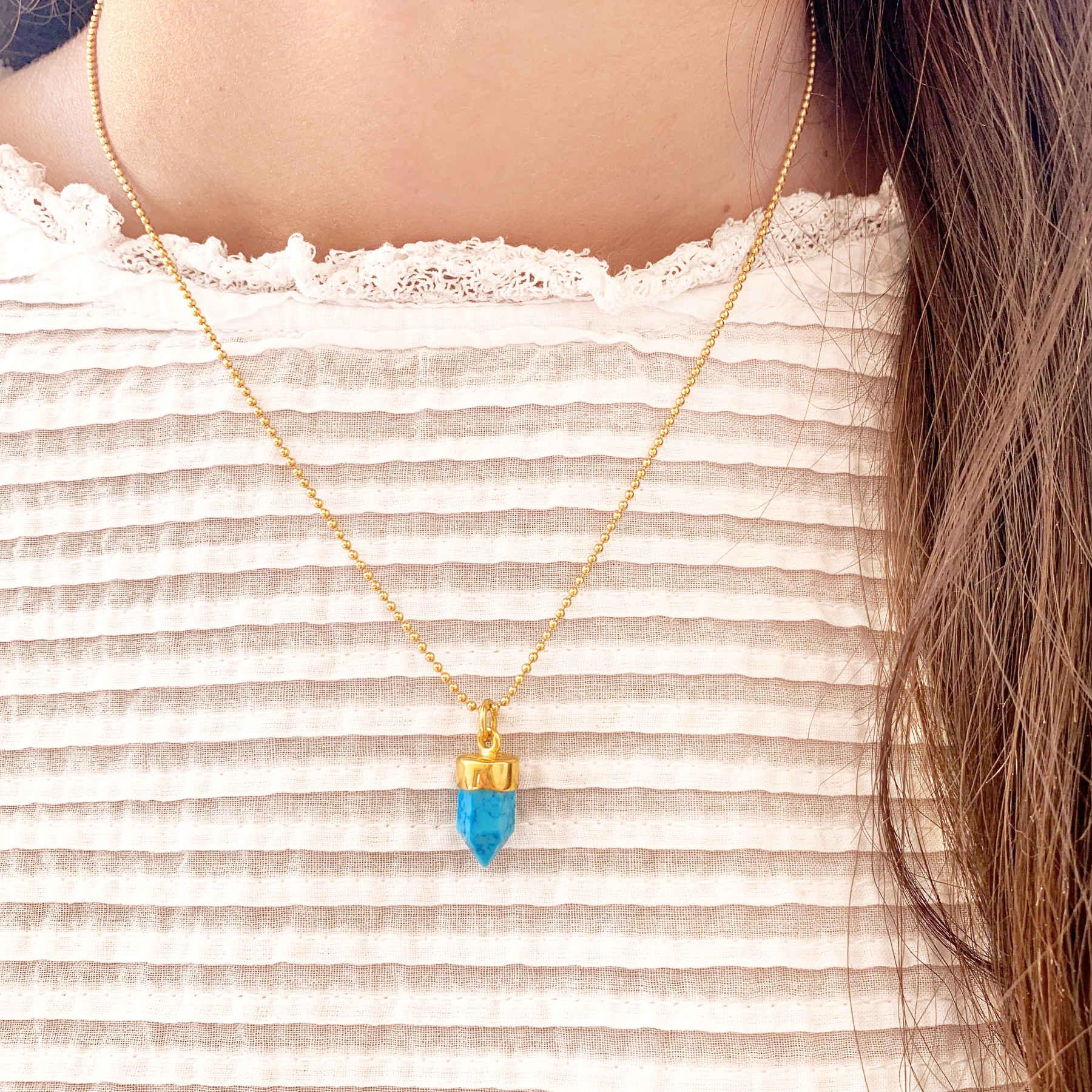 Halskette gold mit Kristall mochic