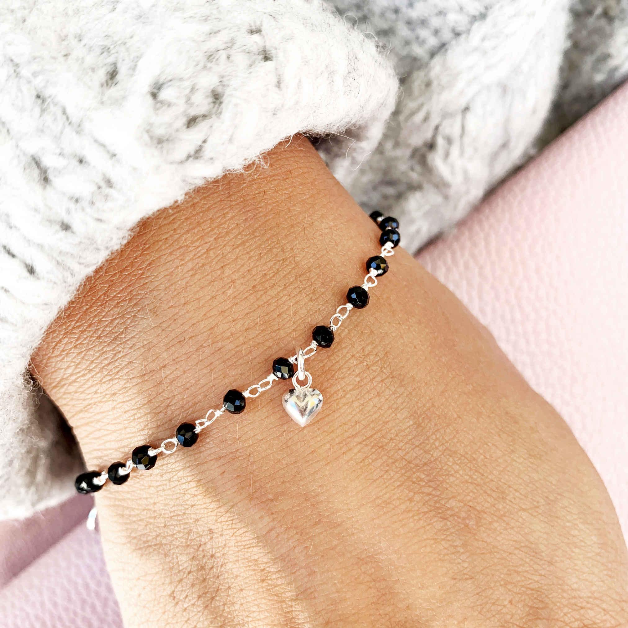 Silber Armkette mit Herz monchic